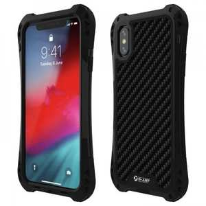 For iPhone XS Max Aluminum Metal TPU Shockproof Carbon Fiber Case - Black