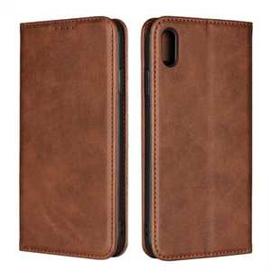 For iPhone XS Max Leather Flip Magnetic Wallet Card Stand Case Cover - Dark Brown