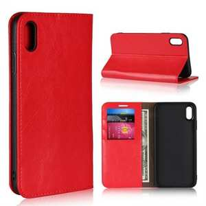 For iPhone XS Max Leather Wallet Stand Case Card Slot Shockproof Flip Cover - Red