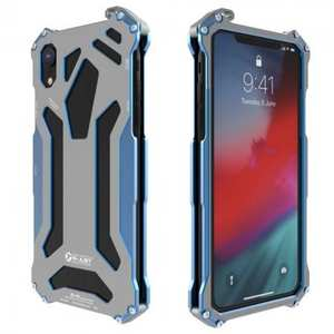 For iPhone XS Max R-JUST Heavy Duty Metal Aluminum Armor Silicone Case Cover - Blue
