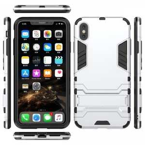 For iPhone XS Max XR XS Hybrid Heavy Armor Rugged Kickstand Hard Case Cover - Silver