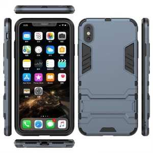 For iPhone XS Max XR XS Hybrid Heavy Armor Rugged Kickstand Hard Case Cover - Navy Blue