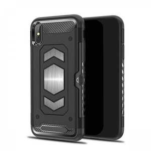 For iPhone XS Max XR XS Slim Shockproof Magnetic Car Holder Back Cover Case - Black