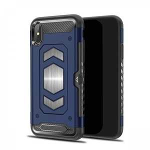 For iPhone XS Max XR XS Slim Shockproof Magnetic Car Holder Back Cover Case - Navy Blue
