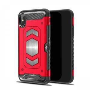 For iPhone XS Max XR XS Slim Shockproof Magnetic Car Holder Back Cover Case - Red