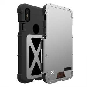 R-JUST Shockproof Aluminum Metal Flip Case Cover For iPhone XS Max - Silver