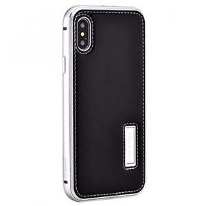 Aluminum Metal Bumper Frame Case+Real Genuine Cow Leather Back Cover for iPhone XR - Silver&Black