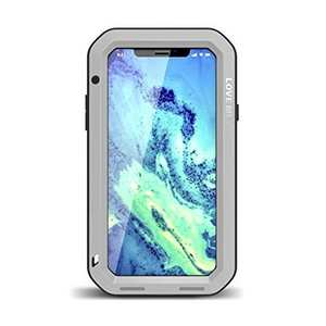 Aluminum Metal Shockproof Waterproof Glass Case Cover for iPhone XR - Silver