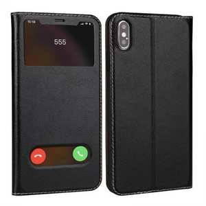 For iPhone X/XS/XS MAX Stand Windows Genuine Leather Flip Case Cover - Black