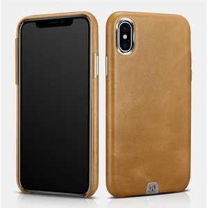 ICARER Genuine Leather Back Case Cover for iPhone XS - Khaki