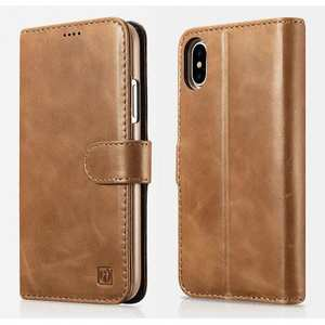 ICARER Genuine Leather Detachable 2 in 1 Wallet Folio Case For iPhone XS - Brown