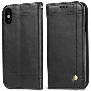 Retro Oil Wax Leather Wallet Folio Cover Case for iPhone XS - Black