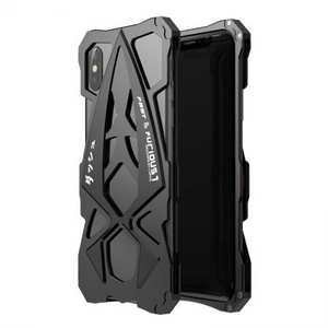 Sports Car Style Aluminum Metal Shockproof Case for iPhone XR - Black