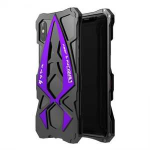 Sports Car Style Aluminum Metal Shockproof Case for iPhone XR - Black&Purple