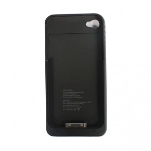 Ultra Slim 1900mAh External Backup Battery Case for iPhone 4/4S with Power Residual Light + USB Cable - Black