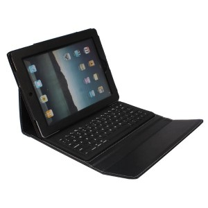 Leather Protective Wireless Bluetooth Querty Keyboard Case for iPad 2/3/4 - Black
