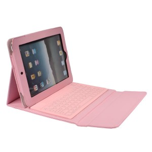 Leather Protective Wireless Bluetooth Querty Keyboard Case for iPad 2/3/4 - Pink