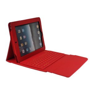 Leather Protective Wireless Bluetooth Querty Keyboard Case for iPad 2/3/4 - Red