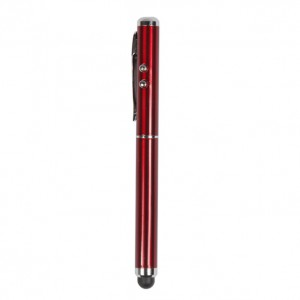 Touch Pen for iPad 1,iPad 2nd and The New iPad with Torch,Laser and Screen Stylus Triple Functions - Red