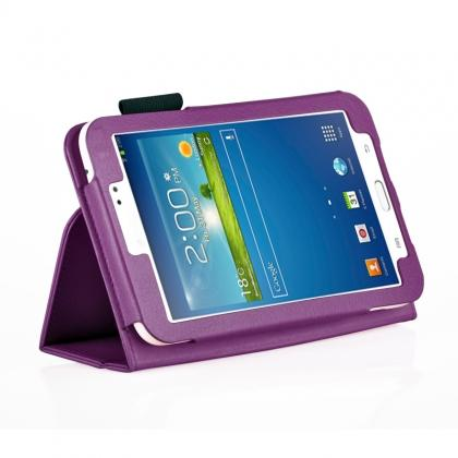 Flip PU Leather Case Cover for Samsung Galaxy Tab 3 8.0 T310/T3110 - Purple
