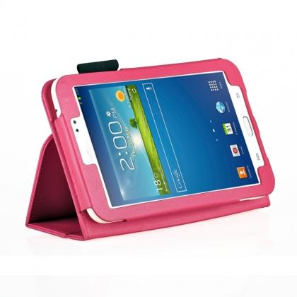 Flip PU Leather Case Cover for Samsung Galaxy Tab 3 8.0 T310/T3110 - Rose red