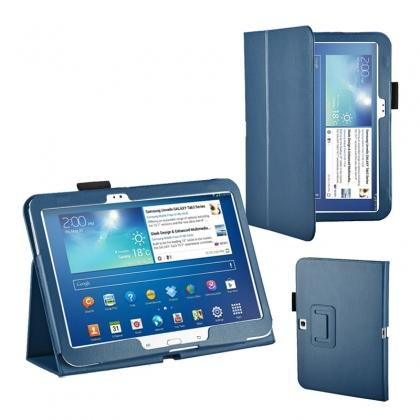"samsung tablet 10.1 stand,PU Leather Flip Tablet Case Cover for Samsung Galaxy Tab 3 10.1"" P5200/P5210 - Blue"