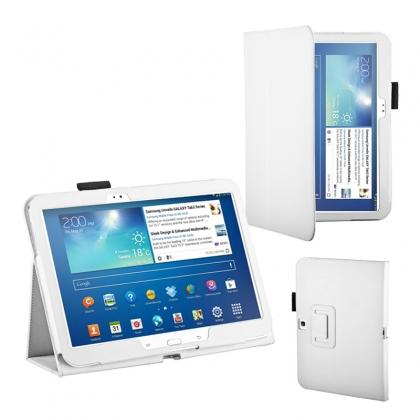 "moko samsung galaxy tab 10.1 case,PU Leather Flip Tablet Case Cover for Samsung Galaxy Tab 3 10.1"" P5200/P5210 - White"