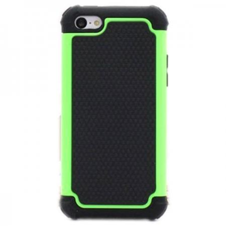 2 in 1 Football Grain PC + Silicone Hybrid Combo Back Case Cover For iPhone 5C - Green