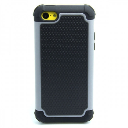 2 in 1 Football Grain PC + Silicone Hybrid Combo Back Case Cover For iPhone 5C - Grey