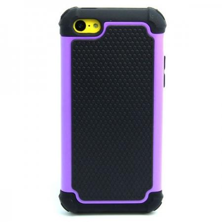 2 in 1 Football Grain PC + Silicone Hybrid Combo Back Case Cover For iPhone 5C - Purple