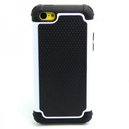 2 in 1 Football Grain PC + Silicone Hybrid Combo Back Case Cover For iPhone 5C - White