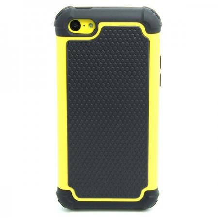 2 in 1 Football Grain PC + Silicone Hybrid Combo Back Case Cover For iPhone 5C - Yellow
