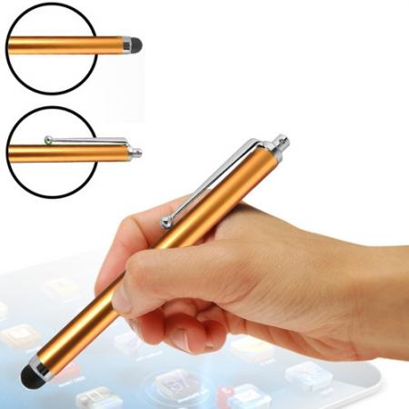 Capacitive aluminium stylus pen for mobile phones, PDA, Tablet PC, iPad & iPhone - Golden