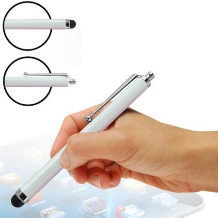 Capacitive aluminium stylus pen for mobile phones, PDA, Tablet PC, iPad & iPhone - White