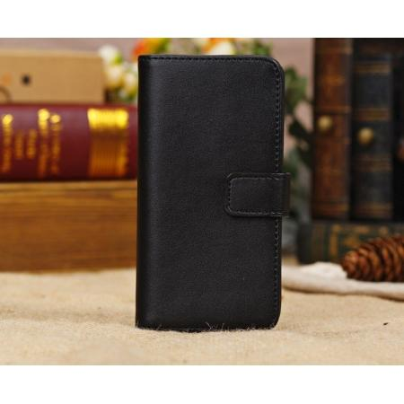High Quality Crazy Horse Pattern Flip Wallet Leather Case for iPhone 5C with Credit Card Slots - Black