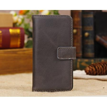 High Quality Crazy Horse Pattern Flip Wallet Leather Case for iPhone 5C with Credit Card Slots - Coffee
