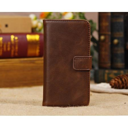 High Quality Crazy Horse Pattern Flip Wallet Leather Case for iPhone 5C with Credit Card Slots - Dark Brown