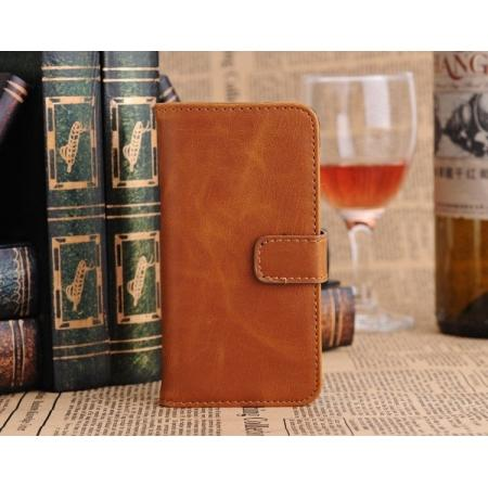 Luxury Retro Pattern Wallet Leather Flip Case Stand for iPhone 5C with Card Holder - Brown
