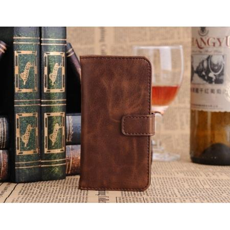 Luxury Retro Pattern Wallet Leather Flip Case Stand for iPhone 5C with Card Holder - Coffee