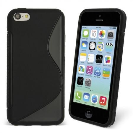 S Line Wave Gel Case Cover For Apple iPhone 5C - Black