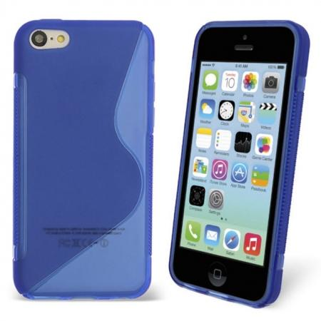 S Line Wave Gel Case Cover For Apple iPhone 5C - Blue