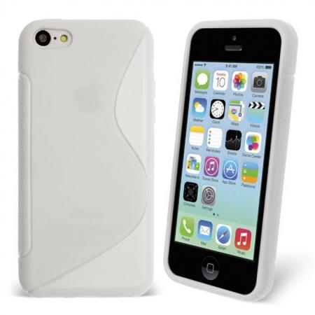 S Line Wave Gel Case Cover For Apple iPhone 5C - White