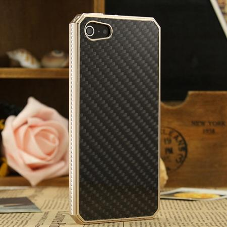 Space Aluminium + Carbon fiber Case For iPhone SE/5S/5 - Champagne Gold