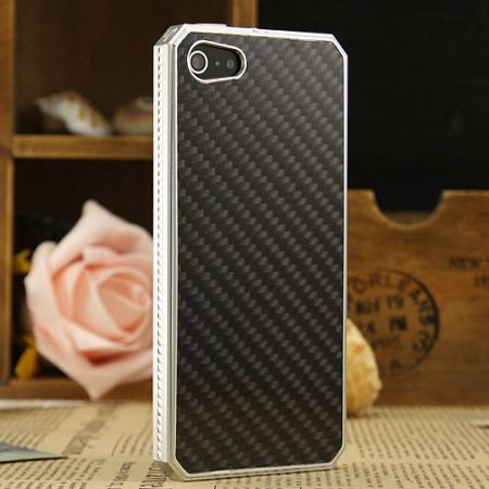 Space Aluminium + Carbon fiber Case For iPhone SE/5S/5 - Silver