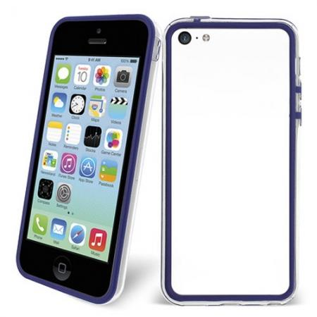 TPU+PC Bumper Frame Case For iPhone 5C - Dark blue/Transparent