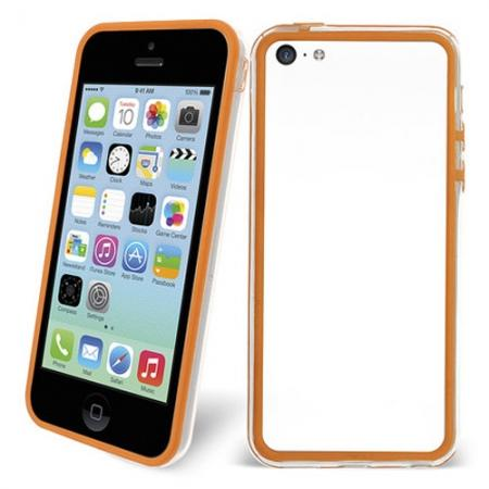 TPU+PC Bumper Frame Case For iPhone 5C - Orange/Transparent