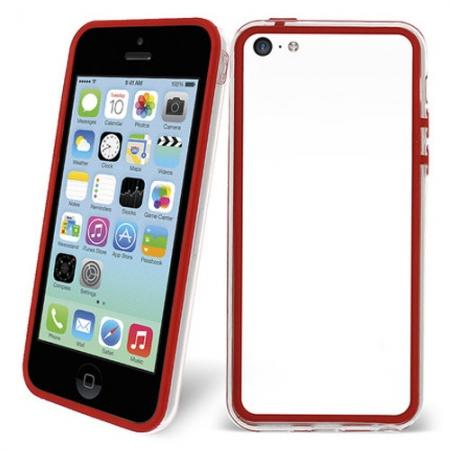 TPU+PC Bumper Frame Case For iPhone 5C - Red/Transparent