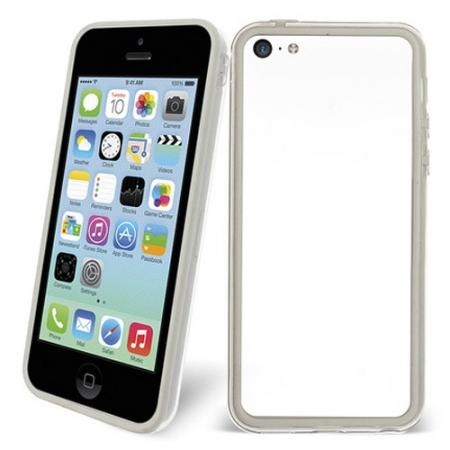 TPU+PC Bumper Frame Case For iPhone 5C - White/Transparent