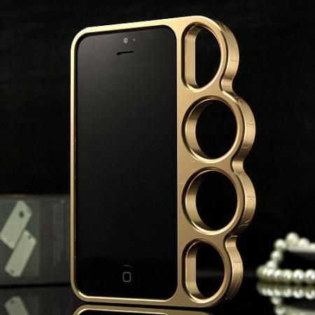 Aluminum Knuckle Ring Bumper Case for iPhone SE/5S/5 - Champagne