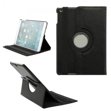 360 Degree Rotating PU Leather Case Cover Swivel Stand for Apple iPad Air - Black
